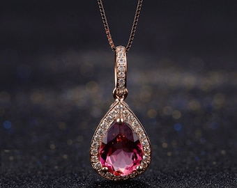 Rubellite Red Tourmaline Diamond in 18k Rose Gold Pendant Necklace Engagement Wedding Birthday Valentine's Mother's Day