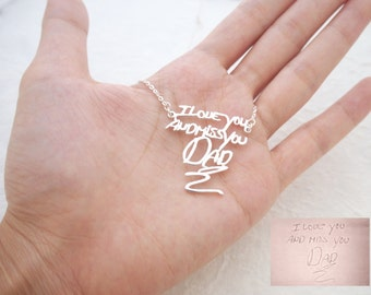 Personalized Signature Necklace in Sterling Silver / Handwriting Necklace/ Handwritten necklace/ Mother's Gift NH01