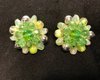 Vintage Western Germany Green Bauble Beaded Clip-On Earrings