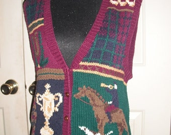 vintage Equestrian Embroidered Vest .. HORSE .. HORSESHOE .. TROPHY dogs ... indie hispter Size Medium