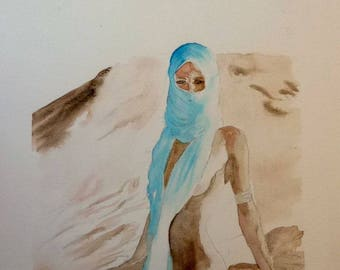 original watercolor painting the woman in the desert bare