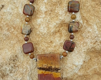 Red Creek Jasper and Sterling Silver Necklace with Rectangle Drop, Red Creek Jasper and Sterling Silver Necklace, Square Red Creek Jasper