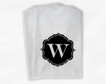 Black Monogram Candy Buffet Bags - Custom Favor Bags Personalized with Initial - Paper Treat Bags (0017)
