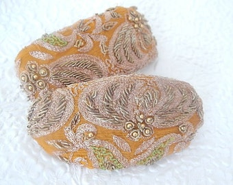 Cinnamon hair clip, embroidered beaded barrette, thick hair clip