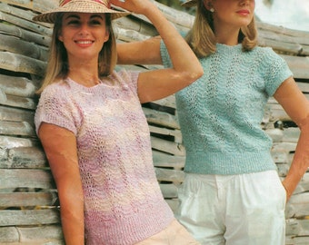 Knitting pattern PDF Ladies Sweater Short Sleeve Lacy Style