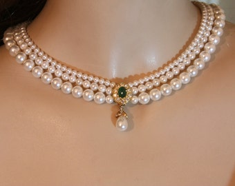 Wedding Pearls Necklace Real Stone Emerald Bridal Green Gem Bride necklace Genuine Pearls Crystals Rhinestone Gold Bridal Necklace Goldfield