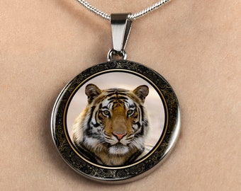 Tiger Necklace, Tiger Charm Necklace, Golden Tiger Necklace, Tiger Necklace for her, Tiger Necklace for Women, Big Cat Necklace,