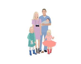 Custom Family Portrait - five people
