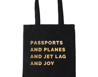 Jet Lag & Joy – Cotton Canvas Tote Bag with Quote | Jet-setter Gift, Travellers Gift, Wanderlust Gift | Vacation Bag, Re-usable Bag