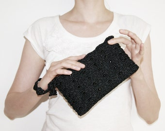 Beaded Evening Clutch, Shimmering Black Clutch Bag, Gift for Her, Statement Handbag Christmas, Black Cocktail Purse, MORE COLORS