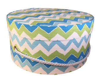 Small Hat Box in Blue And Teal Chevron  Fabric, Ready to ship French Cottage Decor, Fabric Covered Box, Lid, Keepsake Box, Decorative Box