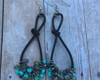 Leather with turquoise bead earrings