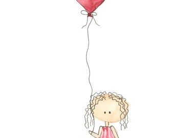 Girl with Red Heart Balloon Notecards