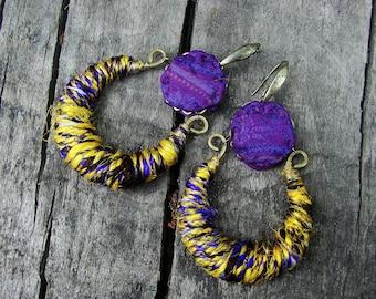 Sari silk and brass boho earrings