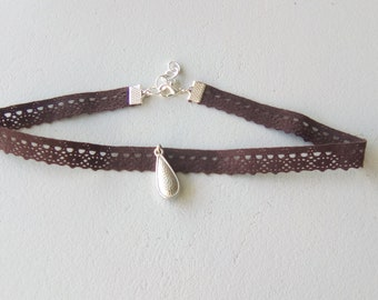 NECKLACE lace chocolate and silver Choker necklace