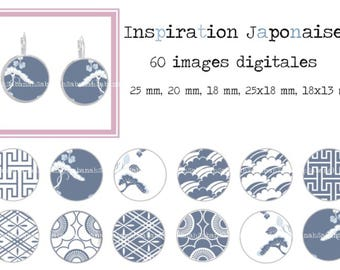 Japanese inspiration. 60 round and oval digital images