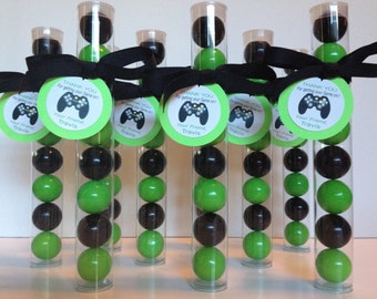Gamer Party, GameTruck party, Video Gaming Party, gaming Party Gumball Tube Party Favors, Personalized with Tags and Ribbon, Set of 12