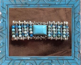 Princess Turquoise Silver Safety Pin Bracelet