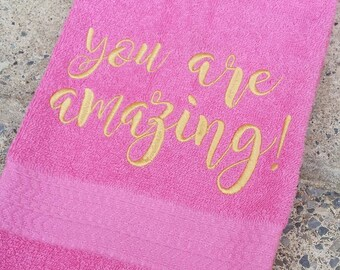 You Are Amazing Sweat Towel, Gym Towel, Personalized Hand Towel, Embroidered Hand Towel