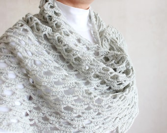 Crochet shawl Crochet scarf shawl Hand knit shawl Gray shawl scale Hand knit scarf Wool shawl Mother gift for mom Gift for mother