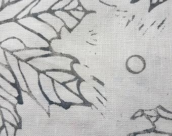 Hand printed slate grey teatowel in large leaf design