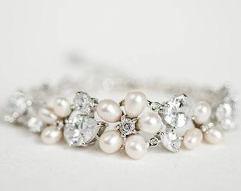 Wedding Bracelet, Crystal Bracelet, Bridal Bracelet, Wedding Freshwater Pearl Bracelet, CZ Bridal Bracelet