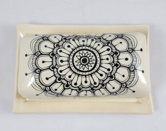 Hand painted Mhendi butterdish