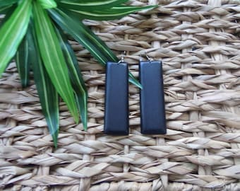Elongated Rectangle Wood Earrings | Wooden Earrings | Natural Stained Wood | Geometric | Classic Wood Earrings | The Classic Collection