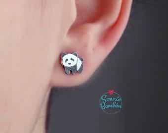 Panda pendientes / pendientes oso panda plata / pendientes panda oso plata 925 / osito panda bebé pendientes / panda bonito plata de ley