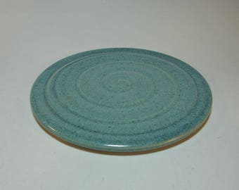 Stoneware Pottery Trivet Hot Plate Blue Green Carved Wheel Thrown and Carved