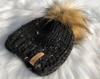 Hand Knit Slouchy Pom Pom Hat  // Sizes Newborn - Adult // The Iroquois Beanie