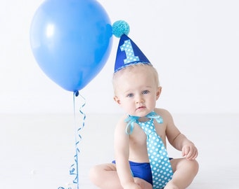 boy smash cake outfit, cake smash outfit,photo outfit,first birthday outfit, blue with turquoise trims and tie