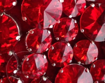 12mm Round, 14pcs Red Crystal,  Fancy Stone & Claw Setting