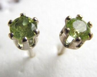 Peridot Round Stud Earrings, 3mm .22ctw, Sterling Silver 6-prong Mounts