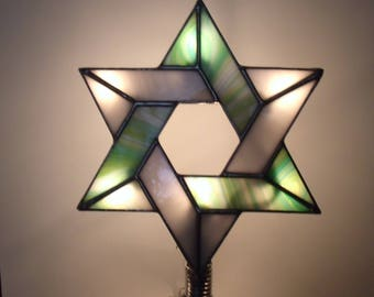 Tree Topper with Light Clips, Lighted Interfaith Tree Topper, Stained Glass Jewish Star, Six Point Star for Blended Families #6