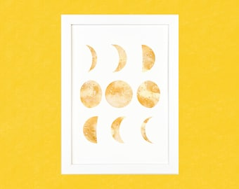 Yellow & Gold Moon Phase Luxury Watercolour Art Print - A5 or A4