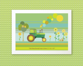 TRACTOR - Children's / kid's / baby's personalised framed picture - Children's wall art - Baby's bedroom wall art - Child's gift