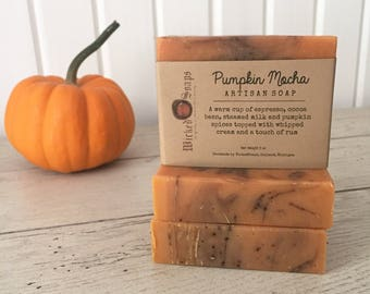 Pumpkin Mocha Artisan Soap - Handmade Soap, Coconut Milk and Shea Butter Soap