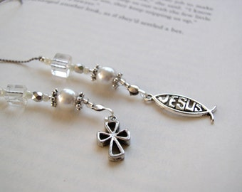 Beaded Bookmark - Religious Jesus and Cross Branch Silver Charms Beaded Book Thong Bible Teacher Christian Gift Pearl Fish Ichthus Symbol