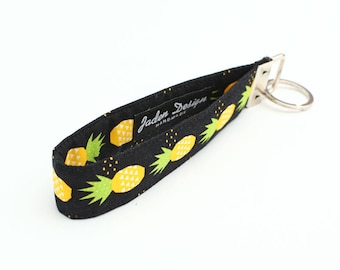 Pineapple Key Chain, Women's Key Fobs, Fruit Key Fob, Fabric Key Holder, Cloth Key Wristlet - yellow pineapples in black