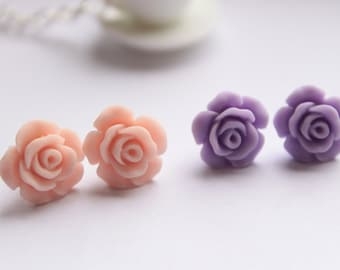 Rose Stud Earrings || Pretty matte resin rose earrings available in 8 colours
