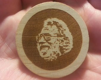 Wooden Etched Jerry Garcia Logo Magnet OR Hat Pin Grateful Dead and Company Lot Merch