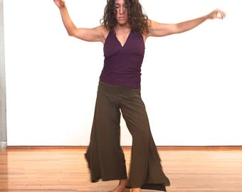 Organic cotton yoga pants, flare hip hugger wide leg dance pants,  many colors