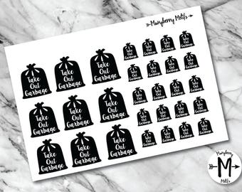 Garbage Bag Reminder Stickers for Planners, Calendars, etc