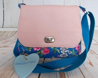 Blue Floral & Faux Leather Mini Messenger Bag Leatherette