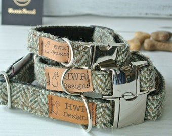 Harris Tweed Dog Collars, Tweed Dog collar, Brown Herringbone Tweed Dog Collar. Designer dog collar