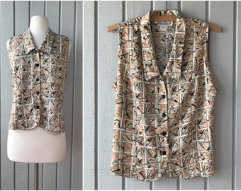 1970s Bamboo Print Button Front Blouse   Key West Hand Print Fabrics   Vintage Lilly Pulitzer   1970s Vintage Blouse   Vintage Clothing