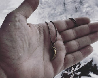 Brass Coyote Claw Necklace