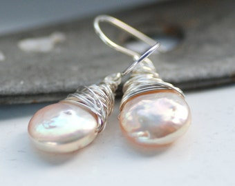 Blush Pink Pearl Earrings, Pearl Jewelry, Wedding Jewelry, Freshwater Pearl Earrings, Birthstone Jewelry, June Birthstone - Windswept