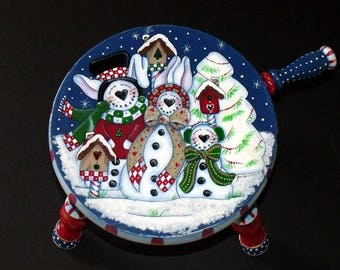 "Hand Painted ""Snow Bunnies"" Christmas Milking Stool- Christmas Decor -Primitive Stool - Folk Art Stool - Home Decor - Holiday Stool - Stool"